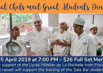 Special Dinner: Great Chefs meet Great Students on Friday 5 March